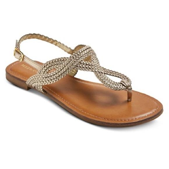 9d20519fdb2d Merona Jana Gladiator Braided Gold Sandals 7.5